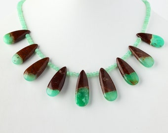Natural Chrysoprase on Iron Stone Beaded Necklace