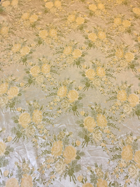 Vintage Brocade Fabric 1 Yard Vintage Floral Fabric Silver Fabric