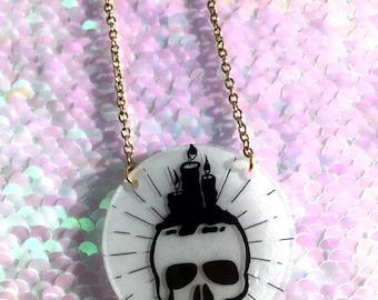 Candle Skull Necklace - Circle, Halloween, Spooky, Candlestick, Eyeball, Skeleton