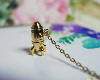 Let your dreams take flight, Rocket, Gold Plated Necklace