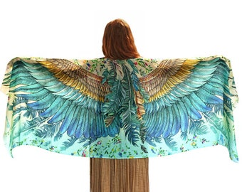 Wings Scarf, Hand Painted Cotton Scarf, Mothers Day Gift, Wing Feather Shawl, Blue Scarf, Sarong Scarf, Bird Wings Shawl, Boho Scarf