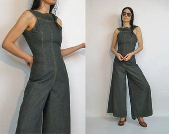 Denim Palazzo Jumpsuit / Vintage 90s Wide Leg Denim Jumpsuit / 90s does 70s Denim Jumpsuit / Halter Jumpsuit /