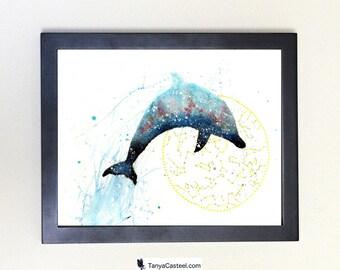 Dolphin Galaxy Art Print, Spirit Animal Totem Guide Watercolor 8x10