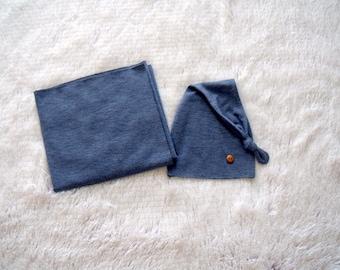 NEW-Newborn Blue Jersey Wrap and Sleepy Button Hat-Newborn Photography Props-Baby Boy Photo Prop Set-Photography Prop Sets-Newborn Boy Props