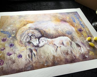 Sheep Original Painting Original Watercolour Sheep painting Farm animal art Sheep and Lamb paintings Sheep art Home décor art Sheep pictures