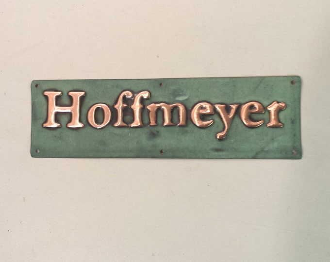 """Gate, door Sign address plaque up to 22 letters of your choice in 1"""" high Garamond font, patinated copper"""