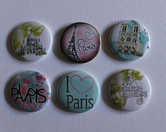 """BADGES """"Paris"""", handmade, (flat back) scrapbooking embellishment, brooch (PIN back), magnet (magnetic back)"""