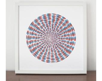 Propeller, screen print,  modern art, abstract print, geometric screenprint, limited edition silkscreen print