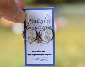Handmade Sterling Silver Marquis Petal Earrings, Cubic Zirconia Earrings, CZ Earrings, Small Earrings,Silver Earrings, Teardrop, E073