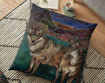 Wolf Love, Pillow, Wolf Pillow, Wolves Pillow, Animal Pillow, Whimsical Art, Illustration, Nature Lover, Wolf Couple, Wildlife Pillow