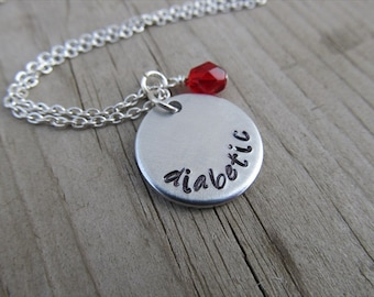 "Medical Alert Necklace- hand-stamped ""diabetic"" Necklace with an accent bead in your choice of colors"