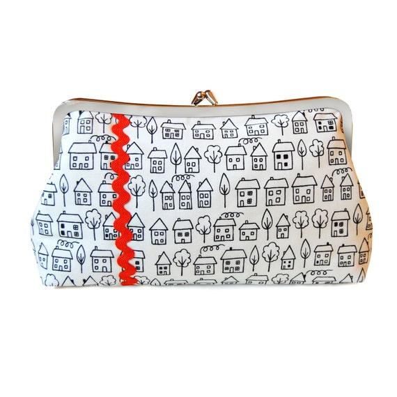 Black and white clutch, Minimal purse, Simple clutch, Modern clutch, Handmade handbag, House purse, Fabric clutch, Orange clutch, Modern bag