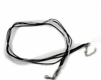 10 Organza Ribbon and Cord Necklaces Black Cord White Opaque Ribbon Necklace for Jewelry Supplies 17 Inches