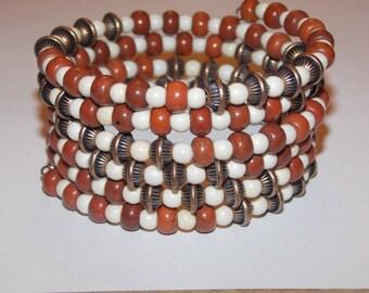Terra Cotta and White Magnesite and Copper Memory Wire Wrap Bracelet