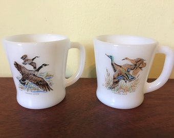 Vintage Fire King Duck Coffee Cups