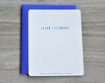 Personalized Christian Stationery Set | Flat Note Cards |  Scripture Stationery | Writing Set | Triangle Points Blue | Set of 12+Envelopes