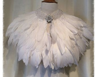 Luxury White Feather &  Pearl Collar Cape Capelet Victorian Bridal
