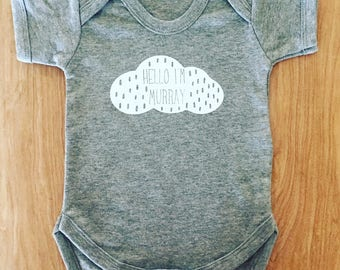 Personalised name baby grow grey white rain cloud