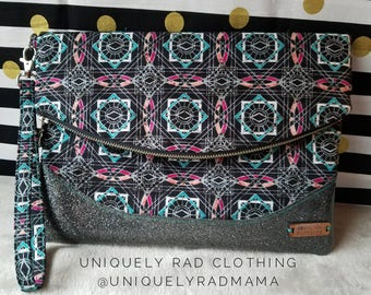 Handmade, Premium quality, Large Fold Over Clutch with Vinyl Bottom!
