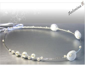Crown Tiara with blossoms and pearls wedding bride with pearls and blossoms wedding Bride