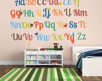 Alphabet Nursery Decor - Alphabet Wall Art - Boy Nursery Decor - Alphabet Wall Decals - ABC Wall Decals - Alphabet Letter Decals