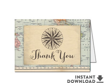 Foldover Thank You Card Printable Travel Compass Around the World Baby Shower Thank You Card (INSTANT DOWNLOAD) No.1269BABY