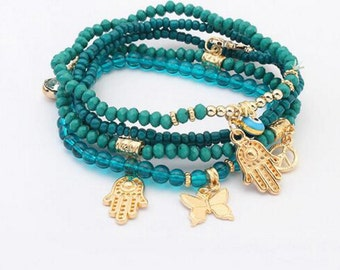 Hamsa Evil Eye Bracelet, beaded bracelet, charm butterfly bracelet,