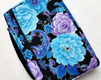 Bible Cover Blue and Purple Flowers on Black Your Book Measurements Required