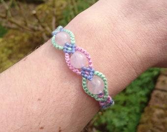 Rose Quartz Bracelet, Rose Quartz Cotton Friendship Bracelet, Blue, Pink, Green Bracelet, Calming Bracelet Healing Bracelet, Childs Bracelet
