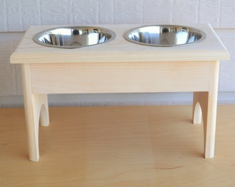 """For The MEDIUM Size Dog, UNFINISHED Raised Solid Wood Feeding Station, Elevated 9"""", Very Sturdy, Complete W/ 2 One Quart Stainless Bowls!"""