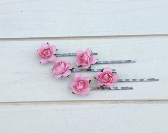 Dusty Pink Delicate Paper Flower Hair Pins, Hair Accessories, Chic Hair Pins, Bobby Pins, Flowers, Flower Girl, Wedding, Formal Accessories