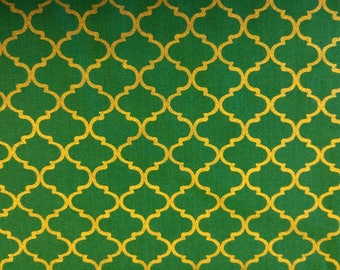 Gold Quatrefoil on Vibrant Green Cotton Fabric BTY