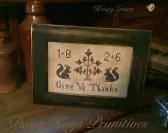 Primitive  Colonial Framec Stitchery Sampler | Thanksgiving Give Thanks Decor | Fall Autumn | Cross Stitch | Squirrels Acorns |