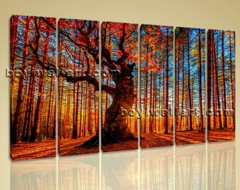 Large Forest Trees Landscape Photography Wall Art Print On Canvas Six Pieces, Large Forest Wall Art, Living Room, Saddle Brown