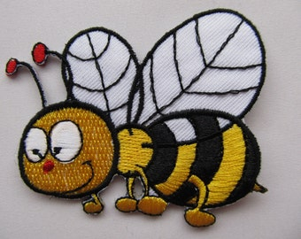 Flying Bumble Bee Yellow and Black Iron on Applique Patch