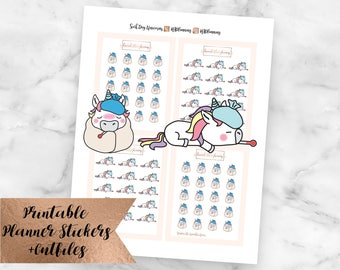 Unicorn Sick Day Planner Stickers - Sick Doctor Tired Fever Headache Tummy Ache Unicorns - Sized for Erin Condren - Silhouette Cutlines