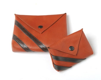 Orange and brown leather pouches, Leather pouch and coin purse set, Handmade leather cases, MALAM