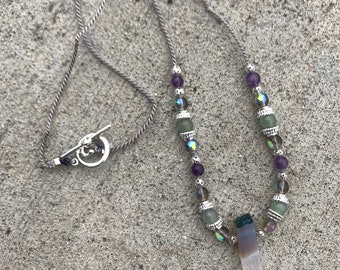 Amethyst, Jade, Silver and Czech Glass necklace