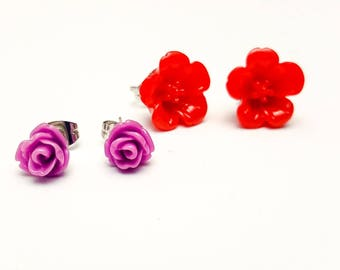 Clearance Sale, Lucite earrings, Acrylic studs, Floral earrings,  two earrings post, Red earrings, Gifts for her under 10