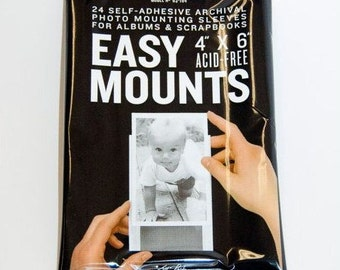 24 Sleeves PER SET Easy Mount Self Adhesive Clear Photo Sleeves .. One SET contains 24 4x6 Photo Sleeves