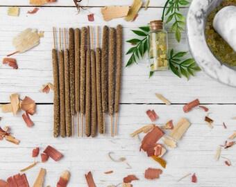 Temple Blend Incense Sticks - Cedar, Sage and Frankincense - Bag of 3, 6 or 12 - All Natural Hand Rolled Organic, Vegan, Herbal, Zen Incense