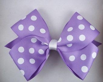 Hair Bow, Light purple polka dot bow