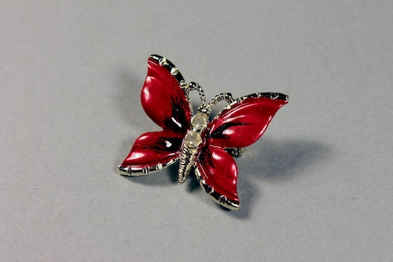 Butterfly Brooch, Red Enamel, Gold Tone, Clear Rhinestone, Locking C Clasp, Fashion Pin, Costume Jewelry, Collectible, Small Pin