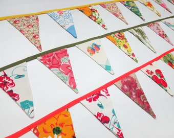 Pennant Banner Flag Garland Bunting Wall Decor Made from a Medley of Vintage Floral & Fruit Textiles