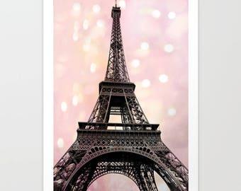 Eiffel Tower Nursery Print, Paris Photography, Paris Baby Girl Nursery Decor, Eiffel Tower Prints, Paris Pink Eiffel Tower Canvas Wall Decor