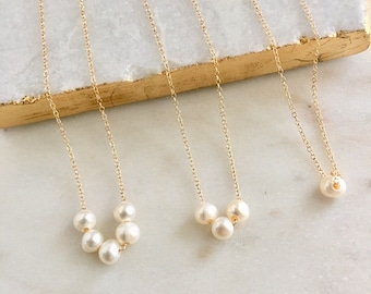 Pearl Necklace Freshwater Pearls Anniversary Gift Bridesmaid Necklace Bridesmaid Gift Bridal Necklace Dainty Necklace Layering Necklace