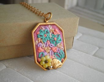 Embroidered Flowers Necklace - Floral Embroidery Pendant - Fiber Flower Textile Art Mini Collage Jewelry Gift - Tiny Terrarium / Diorama