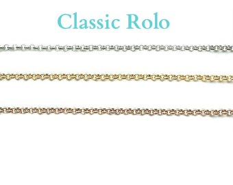 "Classic Rolo Chain for Glass Memory Locket, 24"" ROLO CHAIN for Memory Locket Necklace, Personalized Floating Charm Locket Pendant Chain."