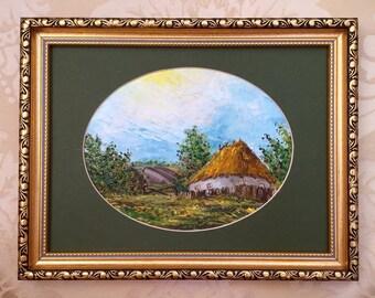 Ukrainian village: Small oil painting, original, handpainted from Kiev, Ukraine