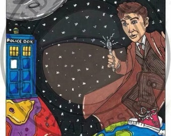 Dr Who - A4 Original Drawing, Cartoon Artwork, Fan Art, Tardis, Space, One Of A Kind, Signed, Dated 2018.